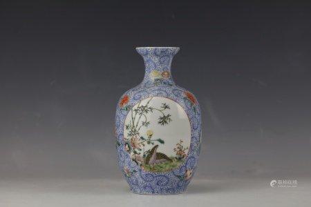 A Famille Rose Porcelain Vase With Qianlong Mark