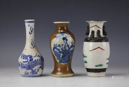 Three Chinese Qing Dynasty Porcelain Vase