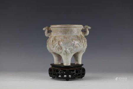 A Chinese Shiwan Porcelain Tripod Censer with Double Handle