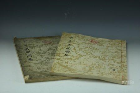 Two Chinese Antique Art Books ZhongHua TuJi