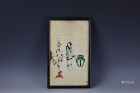 A Framed Chinese Pith Painting of a Lady