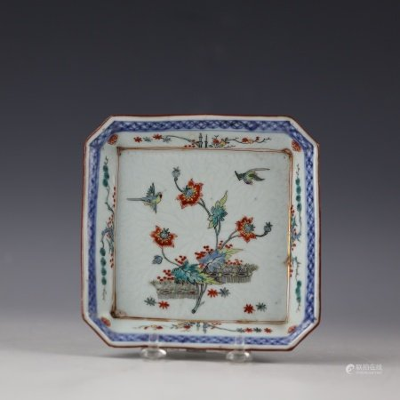 A Chinese Floral Famille Rose Small Square Dish