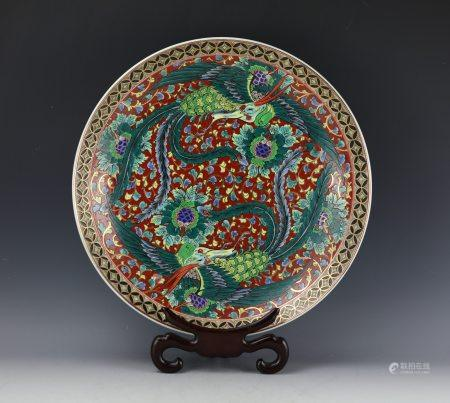 An Imari Famille Rose Porcelain Plate with Two Phnenix Pattern