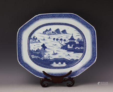 A Chinese Blue and White Porcelain Dish with Landscape Pattern