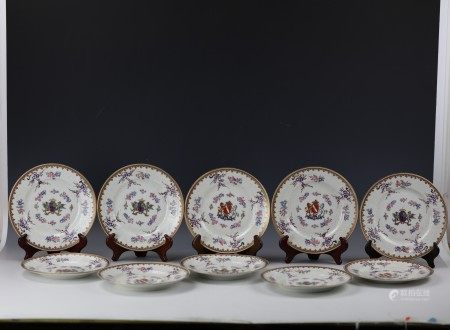 Ten Chinese Export Samson Faille Rose Procelain Plates with Family Crast