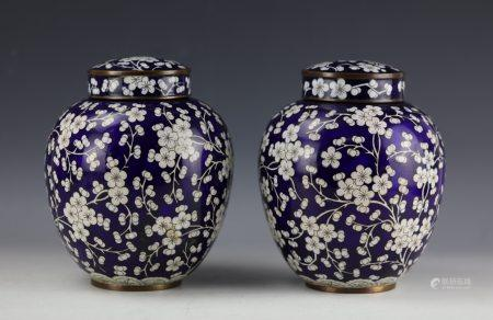 A Pair of Chinese Cloisonne Copper Vase with Lip