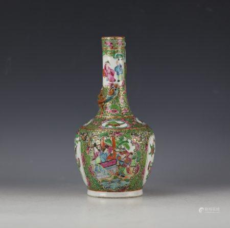 A Chinese Famille Rose Floral and Figural Porcelain Vase