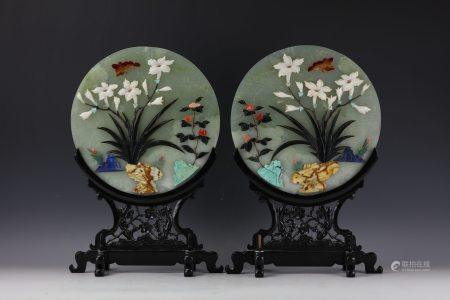 Pair of Chinese White Jade Table Screens