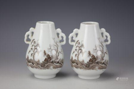 Pair of Chinese Copper Red Vases
