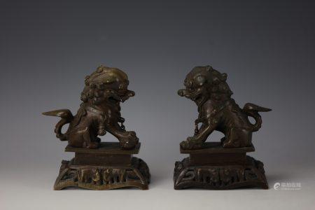 Pair of Chinese Bronze Buddhist Lions