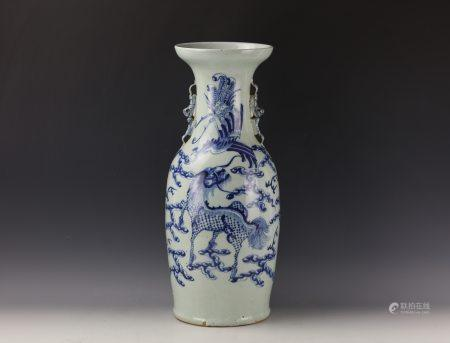 Blue and White 'Qilin and Phoenix' Vase