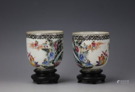 Chinese Famille Rose 'Eight Immortals' Cups