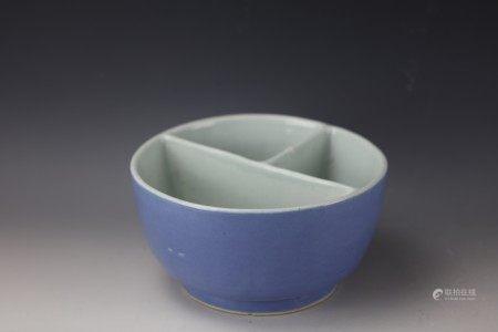 Chinese Blue Glazed Brushpot