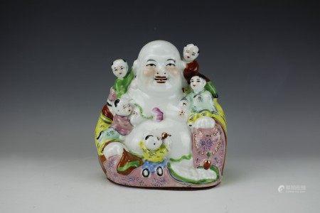 Chinese Famille Rose Figure of Maitreya