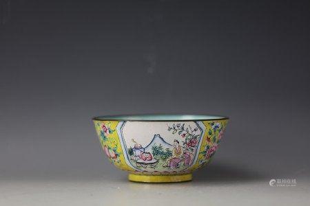 Chinese Yellow-Ground Enameled Bowl