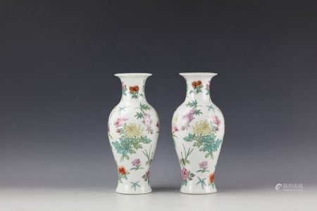 Pair of Chinese Famille Rose 'Floral' Vases