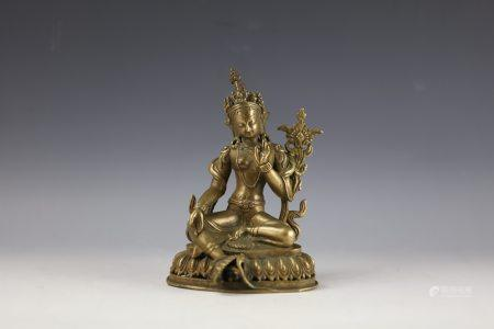 Chinese Gilt-Bronze Figure of Manjushri