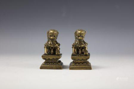 Pair of Chinese Bronze Buddhist Lions