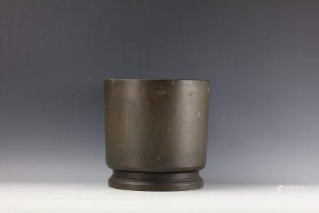 Japanese Bronze Silver-Inlaid Incense Burner