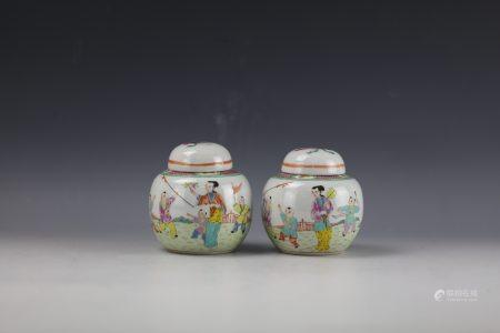 Pair of Chinese Famille Rose Jars and Covers