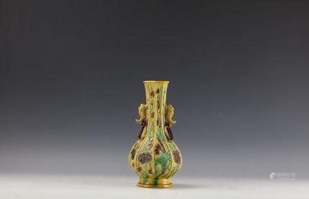 Chinese Famille Jaune Bottle Vase