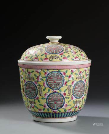 Chinese Yellow Ground Famille Rose Jar