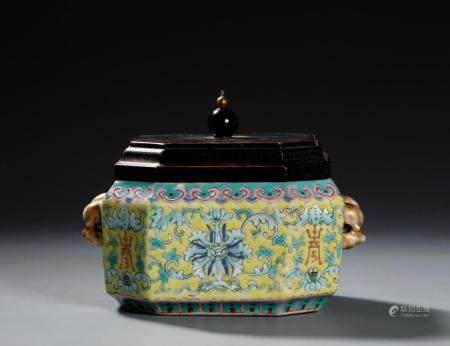 Chinese Yellow-Ground Famille Rose Jar and Cover