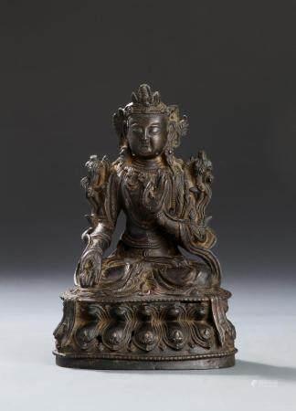 Chinese Yuan/Ming Bronze Figure of Guanyin