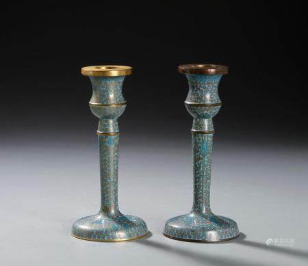 Two Chinese Cloisonne Candlesticks