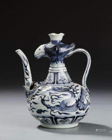 Chinese Blue and White Chicken Ewer