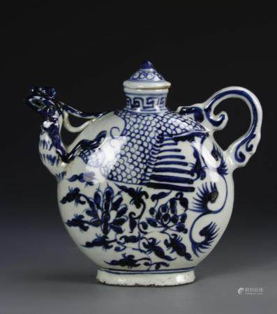 Chinese Blue and White Wine Ewer
