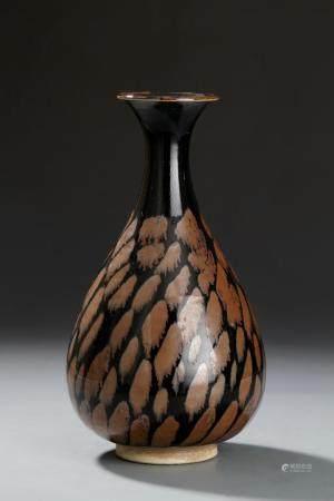 Black Glazed Russet Splashed Vase