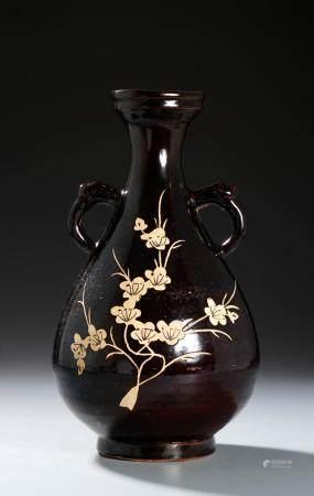 Chinese Chi-Chou 'Prunus' Vase With Handles