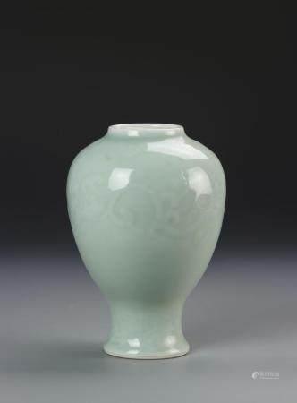 Chinese 19th C. Celadon Glazed Vase