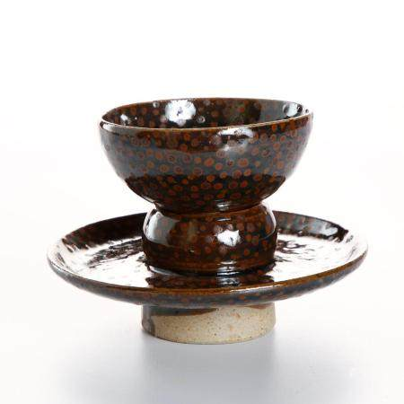 Chinese Russet-Splashed Cup and Cupstand