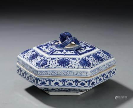 Chinese Blue and White Hexagonal Box