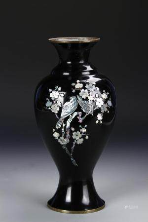 Japanese Mother of Pearl Inlaid Baluster Vase