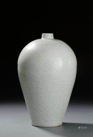 Large Qingbai Carved Meiping Vase