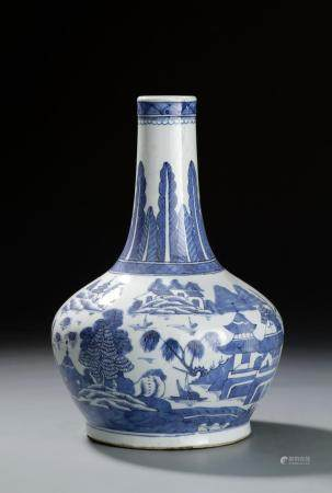 Chinese 19th C. Blue and White Bottle Vase