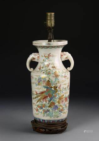 Japanese Famille Rose Vase, Mounted as Lamp