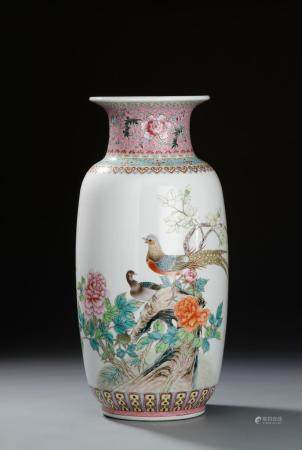 Large Chinese Famille Rose Vase