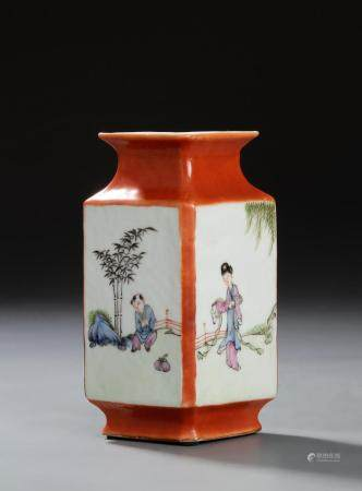 Chinese Iron Red Famille Rose Vase
