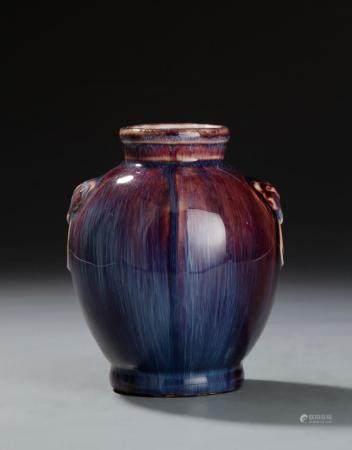 Chinese Flambe Glazed Jar