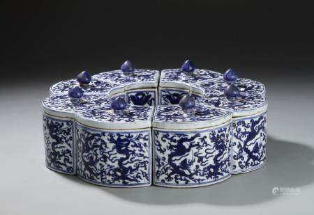 Group of 8 Chinese Blue and White Jars