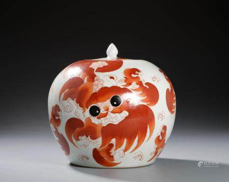 Chinese Iron Red Ginger Jar and Cover