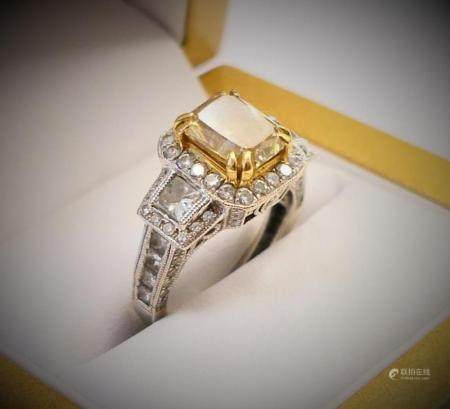 GIA 18K 2-TONE 2.22CT FANCY YELLOW DIAMOND RING
