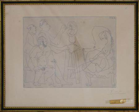 "P. PICASSO (SPANISH 1881-1973) ETCHING ""SCULPTURE"""