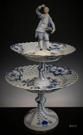 MEISSEN BLUE ONION PORCELAIN TWO TIERED COMPOTE