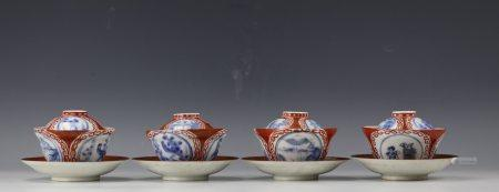 Four Sets of Famille Rose Porcelain Cups with Dishes and Cover