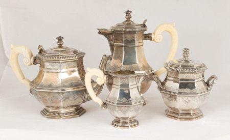 French Puiforcat Silver Coffee & Tea Set